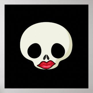 Red Lips Skull Poster