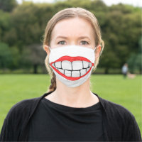 red lips smile with big teeth cloth face mask