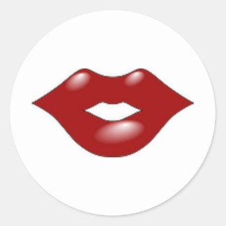 Red Lips Round Sticker