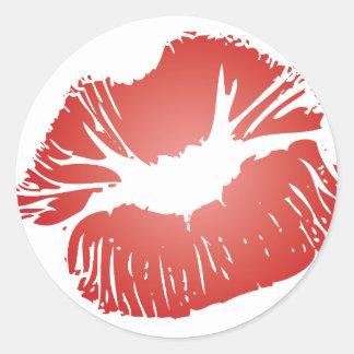 Red Lips Round Stickers