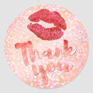 red lips thank you on sparkle classic round sticker