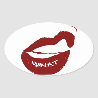 Red Lips What Grr grit teeth Oval Sticker