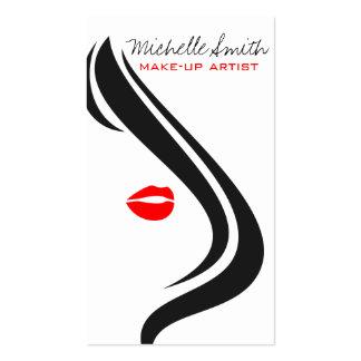 Red lips woman Make-up artist business card design Business Card