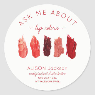 Red lipstick colors swatches ask me promotional classic round sticker