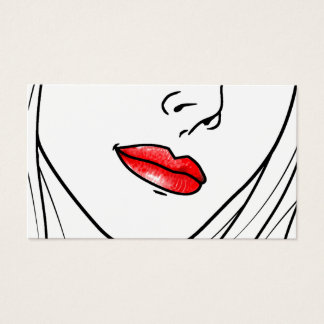 Red Lipstick Illustration Business Card