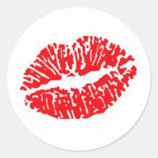 Red Lipstick Kiss Classic Round Sticker