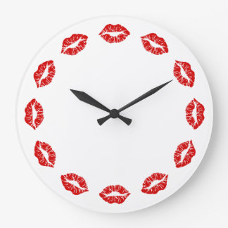 Red Lipstick Kiss Clock