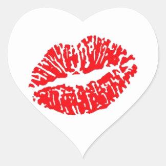 Red Lipstick Kiss Heart Sticker