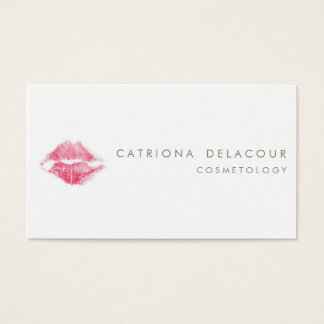 Red Lipstick Kiss Mark Cosmetology Business Card