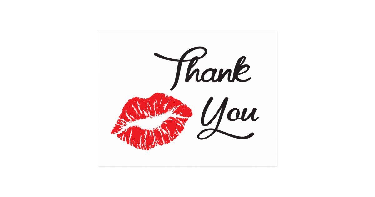 Red Lipstick Kiss Thank You Postcard | Zazzle