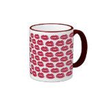 Red Lipstick Kisses Luscious Lips Coffee Mug Cup