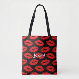 Red Lipstick Kisses Pattern on Black Personalized Tote Bag