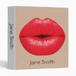 Red lipstick lips punk pop art student folder binder