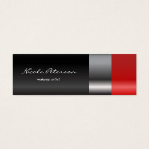 Lipstick business cards templates zazzle red lipstick makeup mini business card colourmoves Gallery