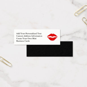 Lip shaped business cards templates zazzle red lipstick mini business card colourmoves Gallery
