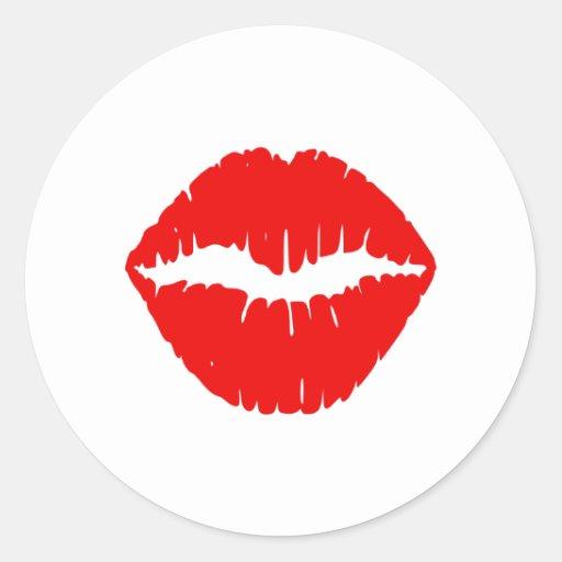 Red Lipstick Round Stickers