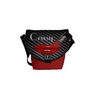 Red Lipstick/stripes  (Personalize)Rickshaw Bag