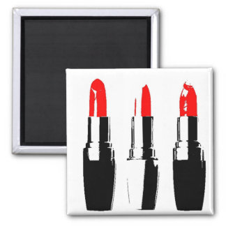 Red Lipstick Tubes 2 Inch Square Magnet