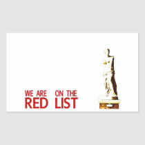 RED LIST RECTANGULAR STICKER