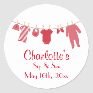 Red Little Clothes Baby Sip and See Stickers