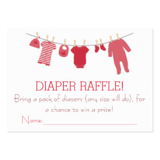 Red Little Clothes Diaper Raffle Tickets Large Business Cards (Pack Of 100)