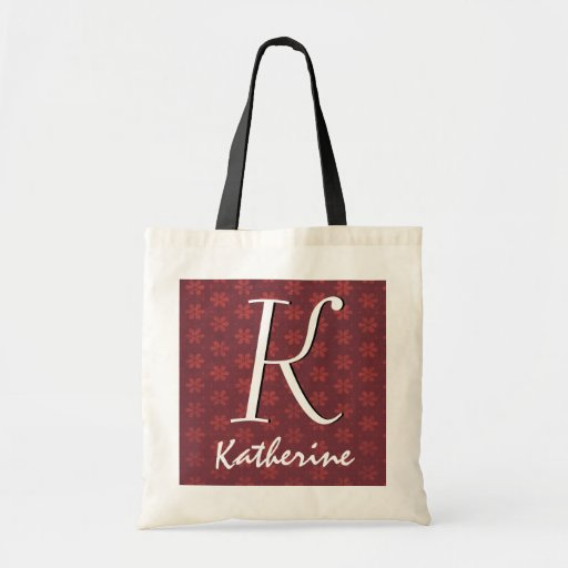 Red Little Flowers Custom Initial Tote Bag Gift