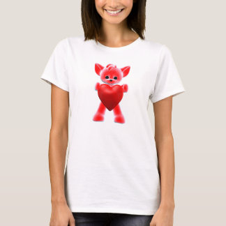 Red Little Fox with Heart T-Shirt