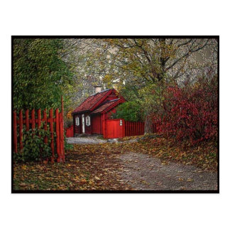 Red little house postcard