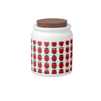 Red Little Ladybugs Candy Jar