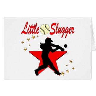 RED LITTLE SLUGGER SOFTBALL GIRL DESIGN CARD