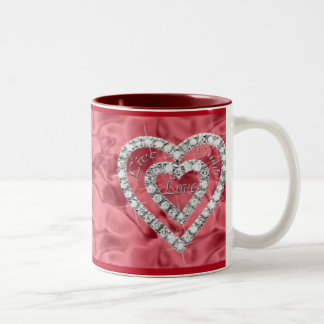 Red Live Laugh Love Diamond Heart Mug