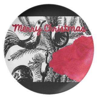 Red Llama Christmas Plate