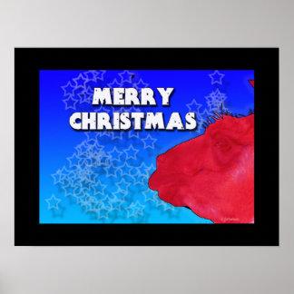 red llama merry christmas stars print
