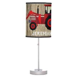 Red Loader Tractor On Wood Look Table Lamp