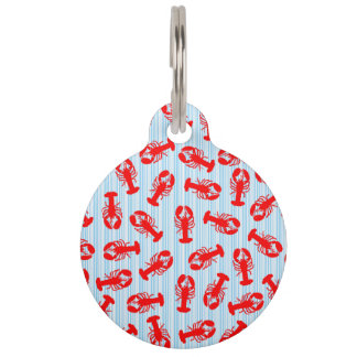 Red Lobster Animal Pattern on Blue Stripes Pet Name Tag