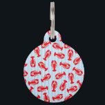 """Red Lobster Animal Pattern on Blue Stripes Pet Tag<br><div class=""""desc"""">This cool and cute red lobster animal pattern on blue and white stripes is perfect for the trendy and stylish food and animal lover. It&#39;s funny and silly print is great for many gifts and occasions.</div>"""