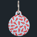 "Red Lobster Animal Pattern on Blue Stripes Pet Tag<br><div class=""desc"">This cool and cute red lobster animal pattern on blue and white stripes is perfect for the trendy and stylish food and animal lover. It&#39;s funny and silly print is great for many gifts and occasions.</div>"