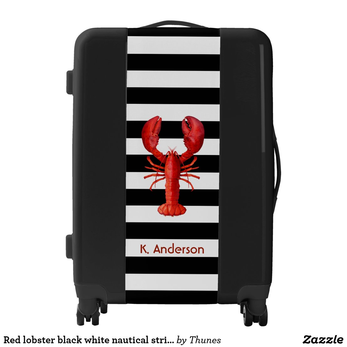 Red lobster black white nautical stripes suitcase