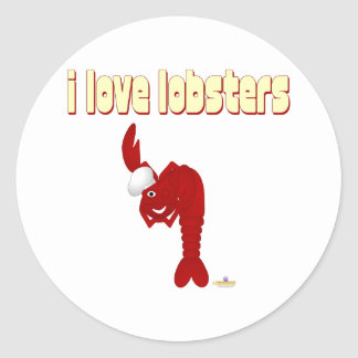Red Lobster Chef I Love Lobsters Classic Round Sticker