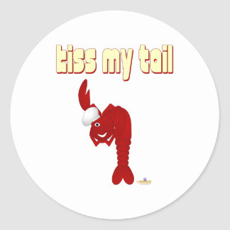 Red Lobster Chef Kiss My Tail Round Stickers