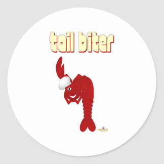 Red Lobster Chef Tail Biter Round Stickers
