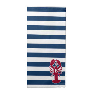 Red Lobster Cloth Napkins, blue and white Stripes Printed Napkin