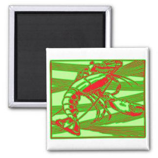 Red Lobster Crustacean 2 Inch Square Magnet