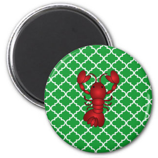 Red lobster green moroccan trellis pattern 2 inch round magnet