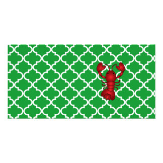 Red lobster green moroccan trellis pattern photo card