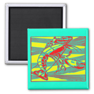 Red Lobster Modern Graphic 2 Inch Square Magnet