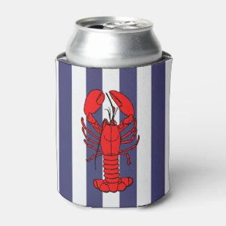 Red Lobster on Blue Stripes Can Cooler
