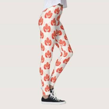 Beach Themed Red Lobster Pattern Leggings