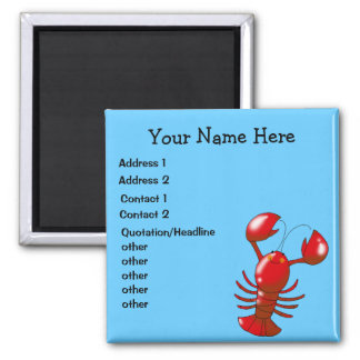 Red lobster personalized business 2 inch square magnet