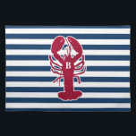 "Red Lobster Placemats with blue and white Stripes<br><div class=""desc"">These fun,  colorful,  preppy red lobster placemats are adorned with a blue and white striped background.  The placemats can be customized with an initial or name.  Perfect for your special event,  beach or lake house or everyday dining.</div>"